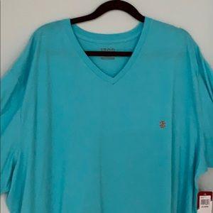 Big men's Izod V-neck shirt aqua blue NWT 4X